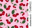 Seamless cherry pattern. On the pink. Vector background. - stock vector