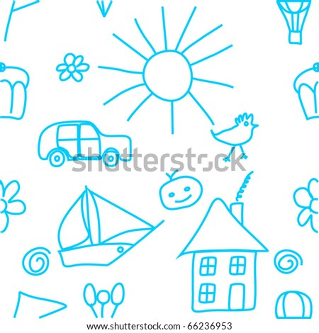Seamless child's drawing - stock vector