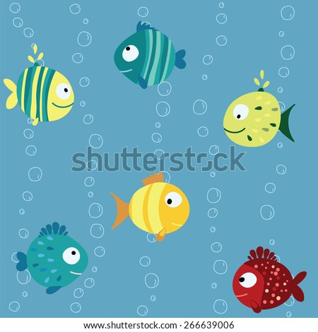 Seamless children pattern with variety blue, yellow, red fish with  circle, drops and stripes on a blue background with bubbles Vector illustration eps 10 - stock vector