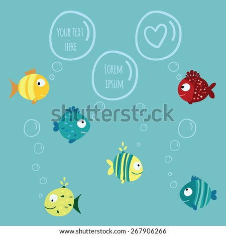Seamless children pattern with variety blue, yellow, red fish with  circle, drops and stripes on a blue background with round chat bubbles for text Vector illustration eps 10 - stock vector