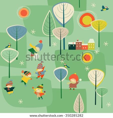 Seamless children's winter background - stock vector