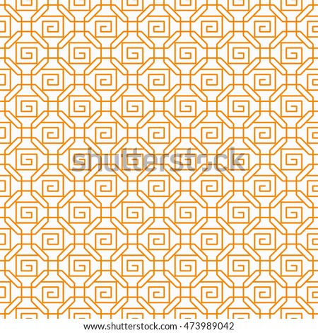 Seamless Chinese Lattice Pattern with Scrolls in Overlapping Octagons.