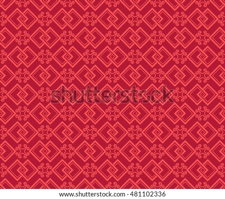 Seamless Chinese Pattern with Auspicious Symbol of FangSheng(Double Square) and Ruyi.