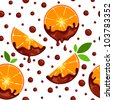 Seamless chocolate oranges pattern - stock photo