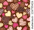 seamless chocolate pattern with sweetmeat in form heart - stock photo
