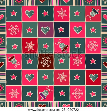 Seamless Christmas background. Bells, stars, hearts and snowflakes in ornamental frame. Vector patchwork pattern. - stock vector