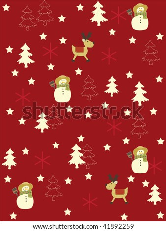 Seamless Christmas background. Easy to edit vector image. - stock vector