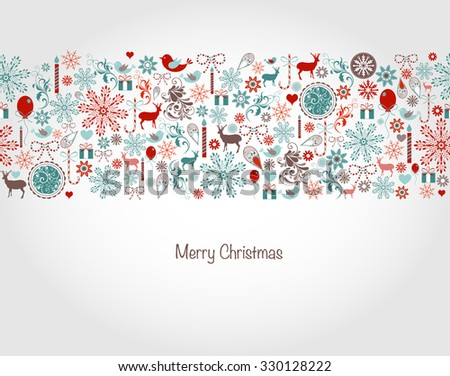 Seamless Christmas background with Christmas elements - stock vector