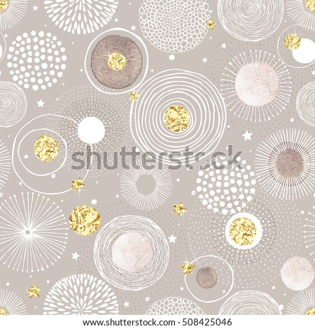 Seamless Christmas background with doodle circles randomly distributed, golden foil circles, watercolor texture, stars and snow. Vector holiday illustration.