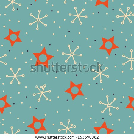 Seamless Christmas background with doodle stars and snowflakes. Vintage christmas  seamless pattern in bright colors. Childish background. Elements for scrap-booking - stock vector
