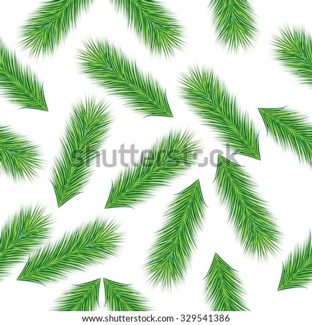 Seamless Christmas background with green branches spruce, vector illustration