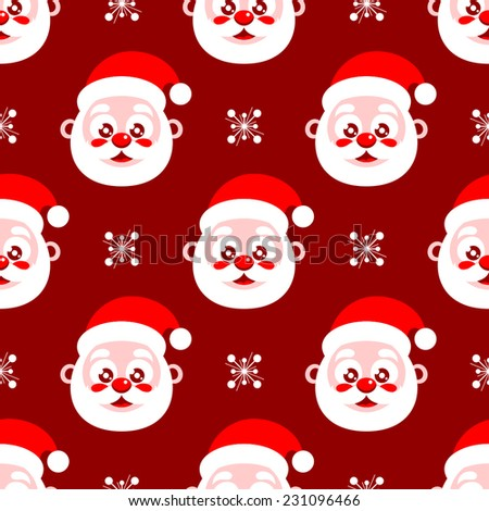 Seamless Christmas background with Santa Clause pattern - stock vector