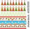 Seamless christmas borders - stock vector