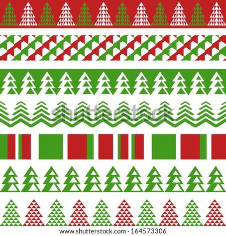Seamless Christmas borders - stock vector