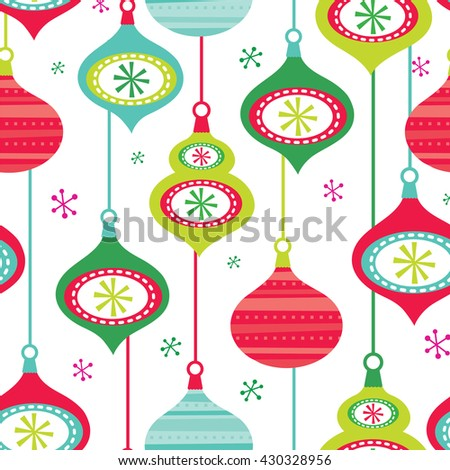 Seamless Christmas decoration baubles