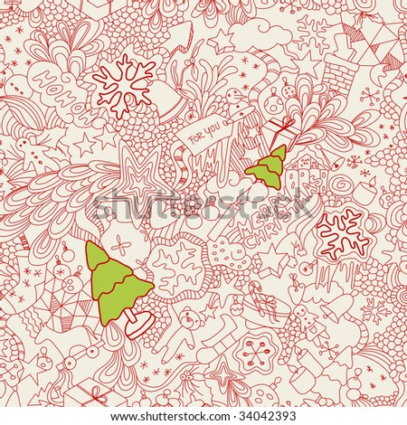 seamless christmas doodles - stock vector