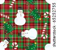 Seamless christmas elements over checkered pattern - stock photo