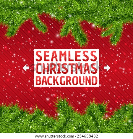 Seamless Christmas Frame background with xmas tree and snowflakes. Vector illustration for your design, posters, greeting card, banners. - stock vector
