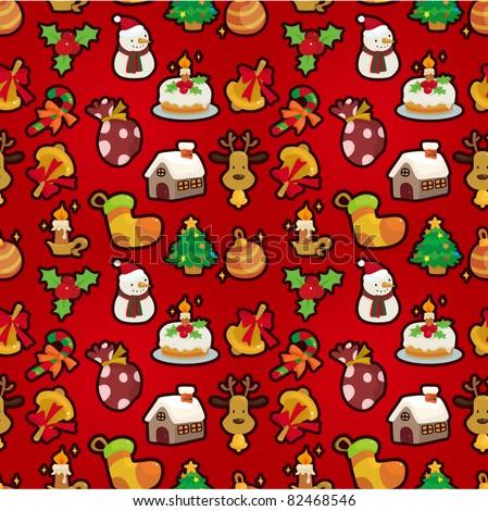 Seamless Christmas funny cartoon - stock vector