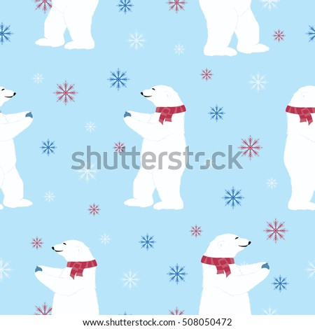 seamless christmas happy new year pattern  with bear and snowflakes