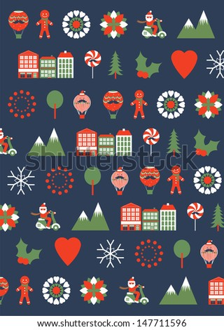 seamless christmas icons template vector/illustration - stock vector