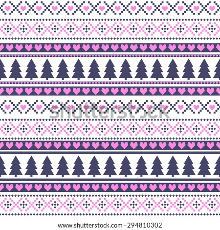 Seamless Christmas pattern, card - Scandinavian sweater style. Pink, blue and white vector background with snowflakes, xmas trees, hearts and decorations. - stock vector