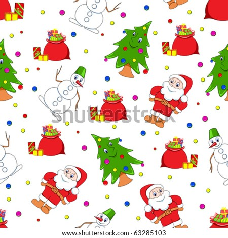 Seamless christmas pattern. Cartoon vector backgrounds. - stock vector