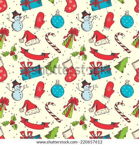 Seamless Christmas pattern. Hand-drawn elements in sketch style for your Christmas design.  - stock vector