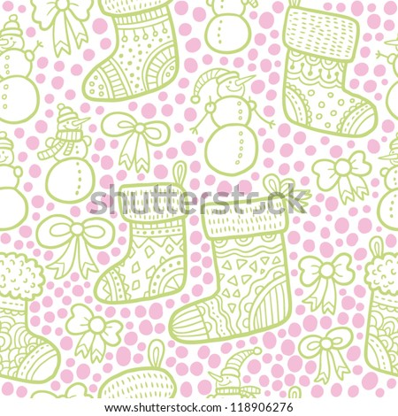Seamless christmas pattern in pink and green colors