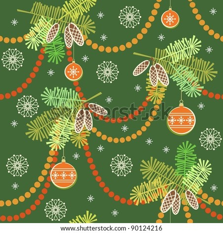 Seamless christmas pattern in vector. Green new year's background with branches of fir, christmas balls, snowflakes and garlands - stock vector