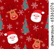 Seamless christmas pattern. Reindeer, santa, tree and snowflakes on red background. - stock photo