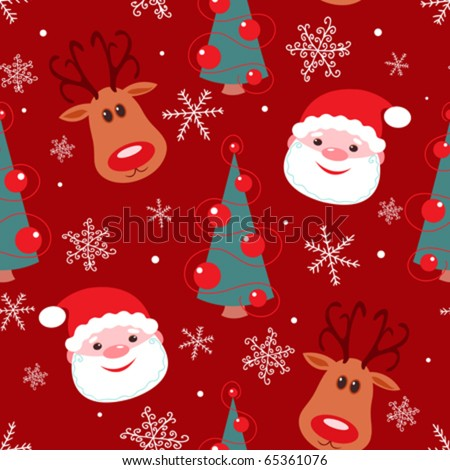Seamless christmas pattern. Reindeer, santa, tree and snowflakes on red background. - stock vector