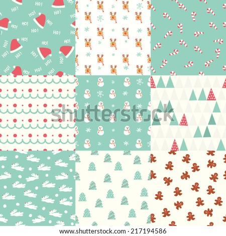 Seamless Christmas Pattern set - stock vector