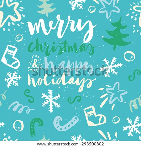 Seamless Christmas pattern. The pattern is painted with a brush. - stock vector