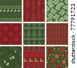 Seamless Christmas Pattern Tile Collection - stock photo