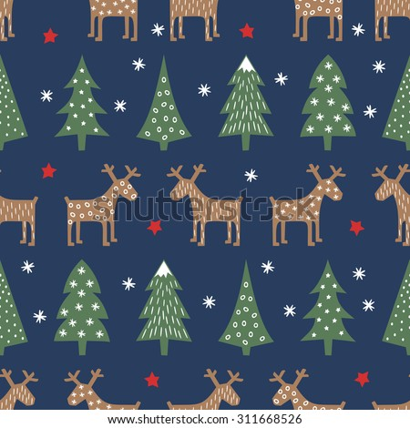Seamless Christmas pattern - varied Xmas trees, deer, stars and snowflakes. Colorful Happy New Year background. Vector design for winter holidays.