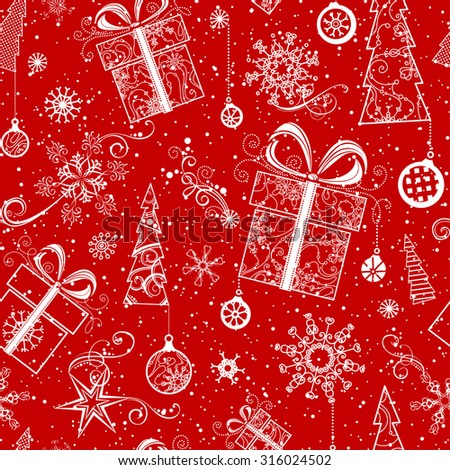 Seamless Christmas pattern. Vintage ornate Christmas tree, Christmas decorations, Christmas balls, swirls, stars and snowflakes. Red and white boundless background.  - stock vector