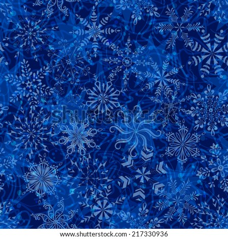Seamless Christmas pattern, white snowflakes on abstract blue background with curves and circles. Eps10, contains transparencies. Vector - stock vector