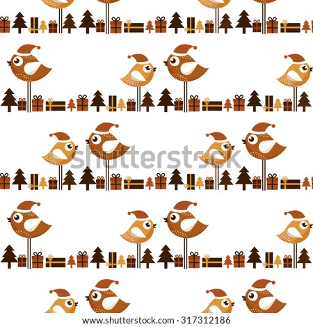 Seamless Christmas pattern with birds and gifts - stock vector