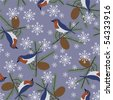 Seamless Christmas Pattern with Birds; Vector format - stock vector
