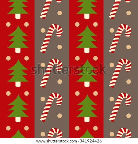 seamless christmas pattern with candy and fir