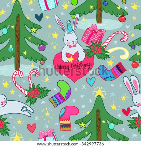 Seamless Christmas pattern with Christmas tree, gifts, candy, rabbit, snowflake, stars and hearts - stock vector
