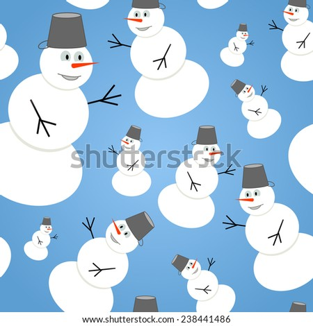 Seamless christmas pattern with cute snowmans. Vector background. - stock vector