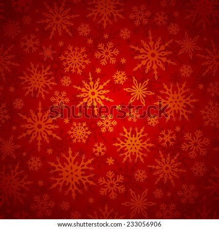 Seamless Christmas pattern with gold snowflakes on a red background. Vector illustration. - stock vector