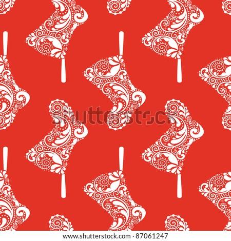 Seamless Christmas pattern with hanging Santa socks. - stock vector
