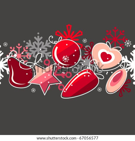 Seamless christmas pattern with red balls and white snowflakes - stock vector