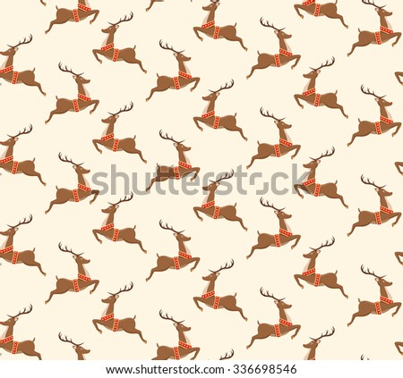 Seamless Christmas Pattern with Santa Reindeers Isolated on Beige Background - stock vector