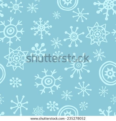 Seamless christmas pattern with snowflakes. Winter simple illustration.  - stock vector