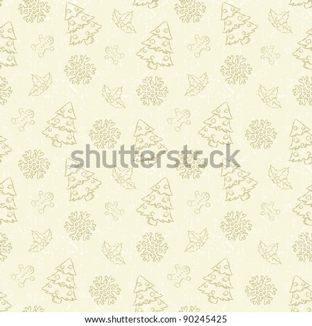 Seamless Christmas pattern with tree and snowflake - stock vector