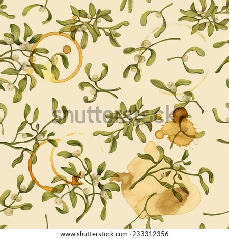 Seamless Christmas pattern with words and mistletoe vector illustration. Decorative vector illustration. Hand write words.  Spilled coffee. Smudges on the paper. Grunge background.  - stock vector